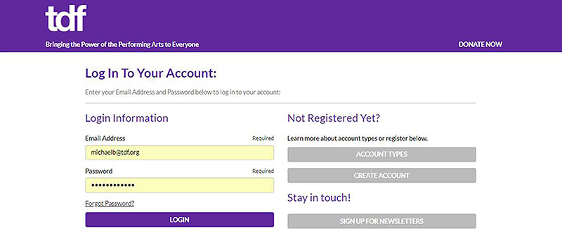 Login with email address and password, or sign up for new user accounts